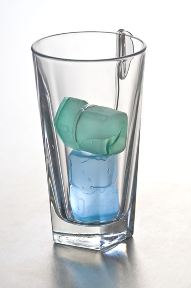 Holding ice cubes