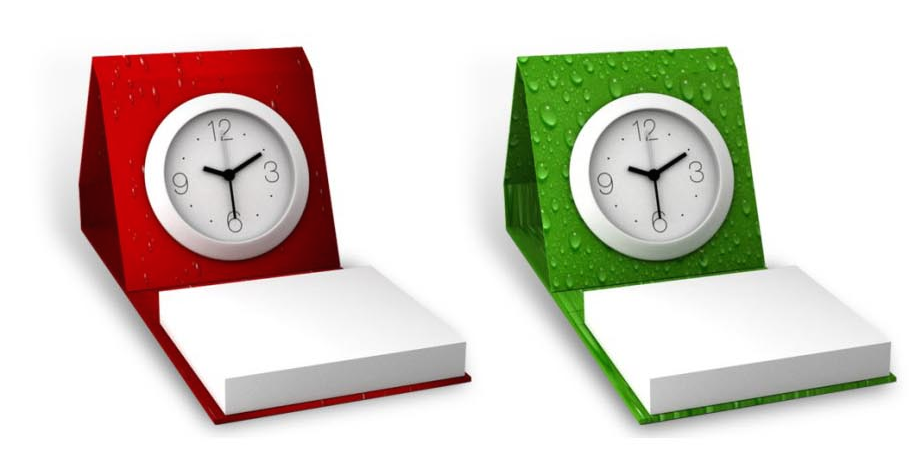 Memo stand with clock