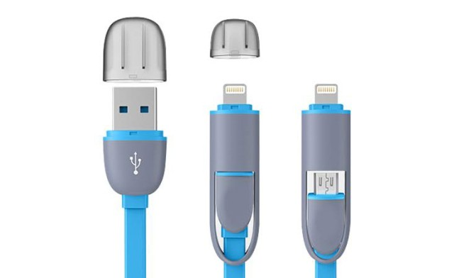 Flexible charging cable 2-in-1
