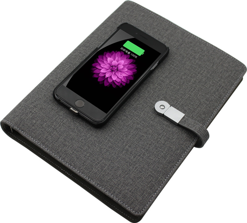 Business notebook with wireless charger